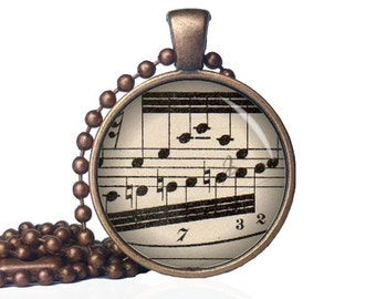Vintage Sheet Music Necklace - Sheet Music Pendant - Musical Note Jewelry - Musician Gift - Gift for Musician - Music Lover Necklace