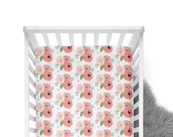 Fitted Crib Sheet Summer Floral Blooms White - Coral Crib Sheet- Floral Crib Sheet- Baby Bedding- Coral Crib Bedding- Organic - Minky Sheet