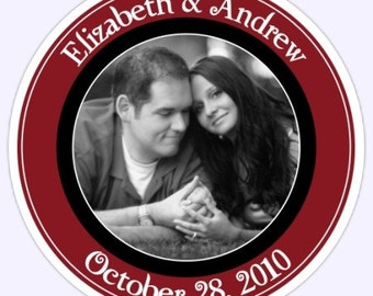 Wedding PHOTO Stickers, Custom Bride and Groom Labels - 2.5 inch round - Personalized for You