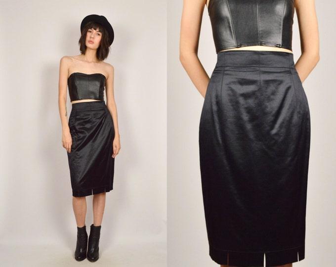 Vintage Escada Pencil Skirt Black High Waisted