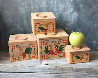 Rooster Wooden Kitchen Canisters, Vintage Four Piece Set of Nesting Canisters, Farmhouse Country Kitchen, Retro Wood Kitchen Pantry Storage
