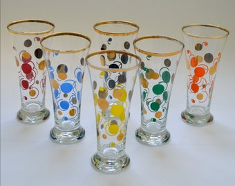 Set of 6 Vintage Kitsch Spotty Design Drinking Glasses