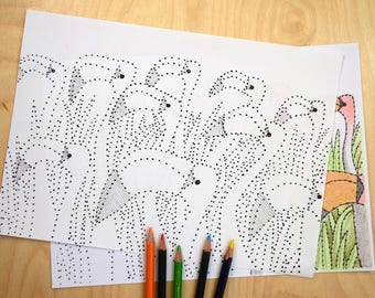Flamingoes, dot to dot and colouring sheet, birds, leaves, download, relaxing.