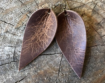 Leather Earrings, Rustic Leather Earrings, Joanna Gaines Earrings Inspired, Leather Leaf Earrings, Inspired By Joanna Gaines Jewelry