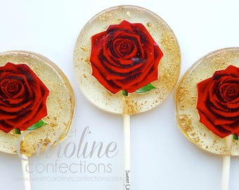 Mothers Day Gift, Red Rose Lollipops, Beauty & The Beast Lollipops, Red Rose, Be Our Guest, Sparkle Lollipops, Sweet Caroline Confections