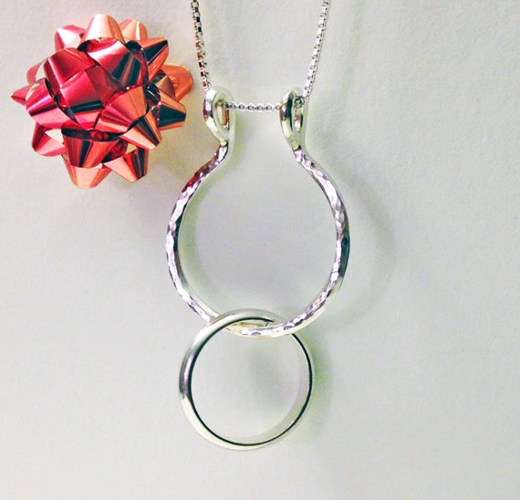 Ring Holder Necklace Hammered Ring Necklace Holder Wedding