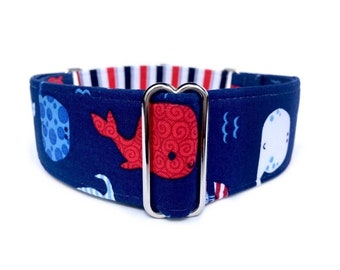 Patriotic Whales Dog Collar - Red, White and Blue Memorial Day, 4th of July American Whale and Stripes Martingale Dog Collar, Buckle Collar