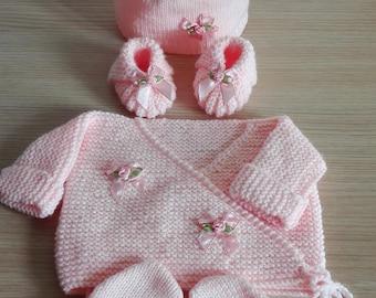 Set top booties mittens Hat 0ã 3 months