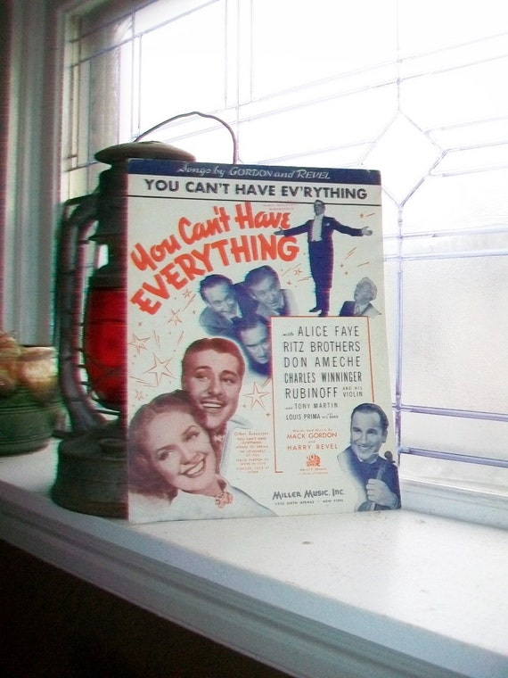 Vintage Sheet Music 1937 You Can't Have Everything