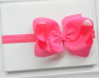 Hot Pink Bow Headband - Hot Pink Boutique Bow Headband