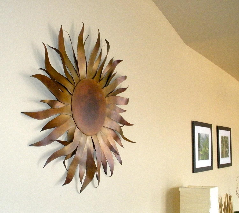 Sun Sculpture Metal Garden & Home Art With Copper Patina