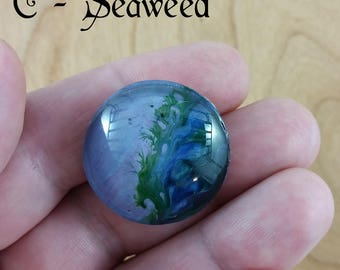 Round Brooch: fluid art pour on acetate, protected by glass; blue, green, purple, red; gift for her, gift for him