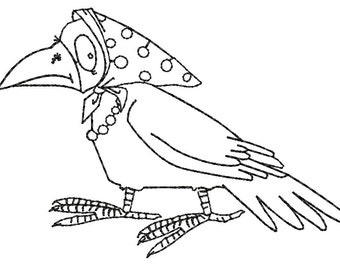crow Embroidery Design - three sizes