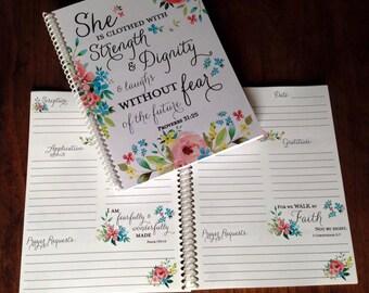 Prayer Journal, Bible Journaling - Journal - Christian gifts -  Scripture Journal - **Spring Floral **