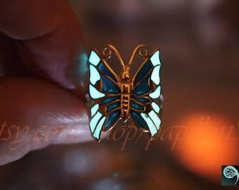 Silver BUTTERFLY Ring / Glow in the dark /Sterling Silver Ring / Butterfly Ring /