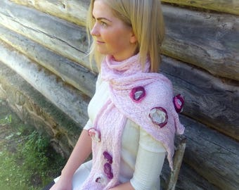 Cotton knit scarf, Scarf with flowers, rose knit scarf with organza flowers, boho, gipsy, shabby chic, romantic scarf, gift for her