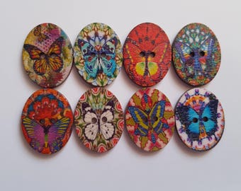 Set of 5 oval Butterfly wooden buttons