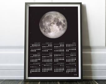 2018 Monthly Lunar Calendar - Monthly Calendar of 2018 - 2018 Calendar - Moon Phase Calendar - Moon Calendar - Calendar of 2018