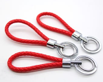 1 Piece Red Braided Keychain Pu Leather Key Holder Key Hook
