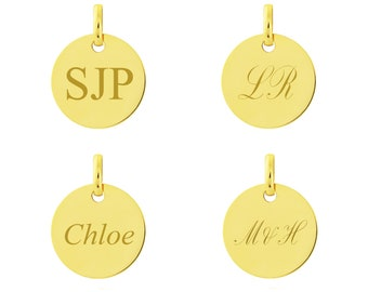 Personalised 9ct Yellow Gold 1.3cm Round Disc Pendant - Customised Engraved Name or Initials
