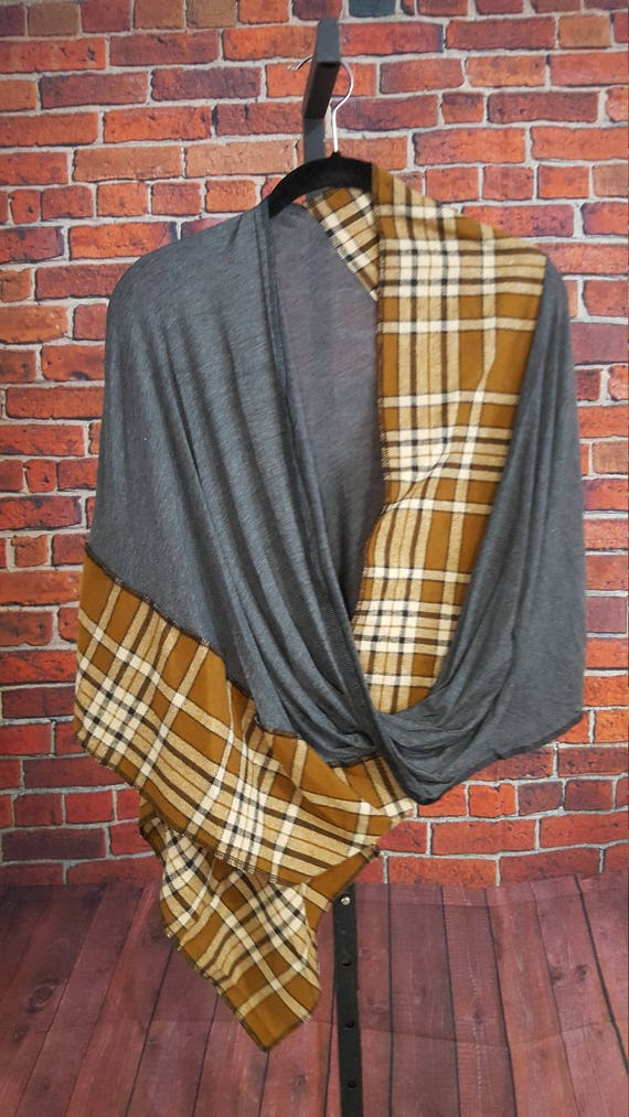 Beige Plaid and Gray Knit Twisted Mobius Wrap