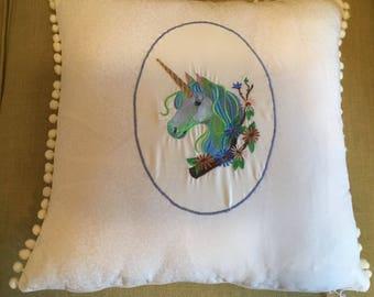Unicorn cream cushion