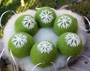 Felted Ornaments Christmas Ornament Holiday Ornament Free Shipping Tree Ornament Needle Felted Christmas Snowflake Ornaments Six