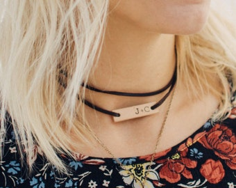 Leather Wrap choker, Personalized leather necklace, Dark Brown leather