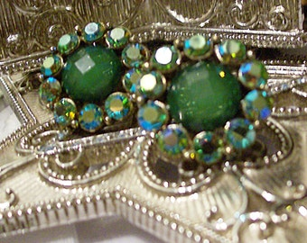 Sparkling Green Rhinestones 1920's Earrings