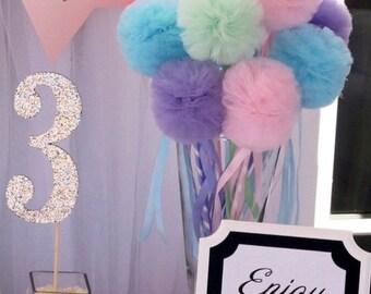 Fairy Princess PREMIUM Tulle Pom Pom Wands, Party Favors Centerpiece, Decorations, 10 Pc Set
