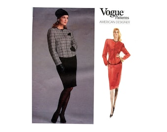 1980s Jacket and Skirt Pattern Pencil Skirt Fitted Jacket Womens Skirt Suit Vintage Vogue Sewing Pattern Anne Klein Vogue 1976 Bust 30 31 32