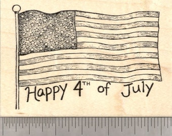 Happy 4th of July Rubber Stamp, American Flag  K21815 wood mounted