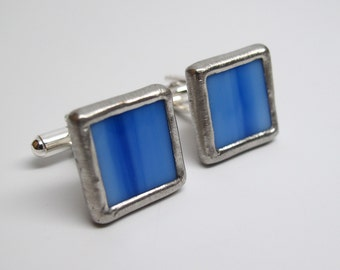 Bright Sky - Mens Stained Glass Cuff Link Set