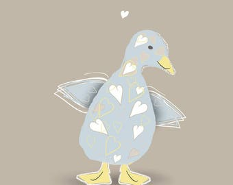 Flappy Chappie - Cute and Quirky Blue Duckling Card (New Baby, Baby Shower, First Birthday, First Easter card)