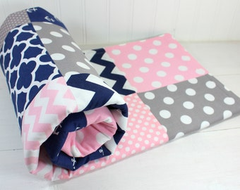 Nautical Baby Blanket, Nursery Decor, Anchor, Minky Baby Blanket, Baby Shower Gift, Anchors, Pink, Navy, Blue, Gray, Grey, White, Baby Girl