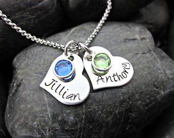 Mother's Charm Necklace - Hearts - Names - Birthstones - Personalized
