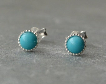 Turquoise Studs, 4mm Sterling Silver Studs, Gemstone Stud Earrings, Dainty Studs, Turquoise Earrings, Turquoise Stud Earrings, Pierced Ears