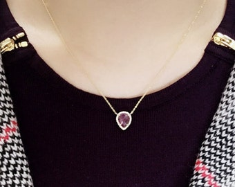 Pear Shaped Sapphire Diamond Necklace/Pink Sapphire Necklace/Diamond Necklace/Diamond Gold Necklace/Sapphire Pendant Necklace