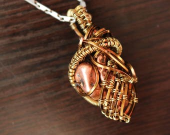 Out of Control Copper Wire Wrap Necklace Pendant