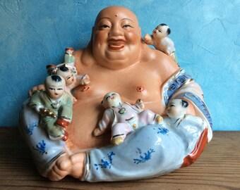 Laughing Buddha with Children Statue - Happy Buddha - Chinese Figurine of Laughing Buddha
