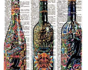 Decorative Dictionary Art Print,Vintage poster,Gift ideas,Wall decor,Digital illustration,Kitchen Home& Living,Bar 3 pop black bottles