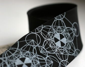 Haute Math. Geometric pattern screenprinted microfiber necktie, Silver ink. Choose standard, narrow, or skinny width.