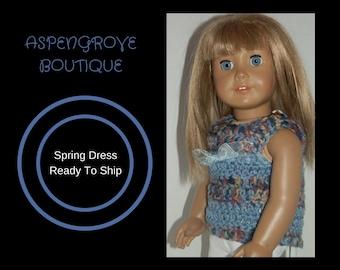 18 inch doll crocheted handmade Denim dress top dress Ready to ship