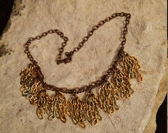 Copper Tones Chain Fringe Collar