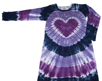 Tie Dye Dress for Girls in Lavender, Purple and Navy with a Purple Heart