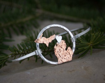 Michigan Jewelry, Michigan bracelet, Upper Peninsula, Lower Peninsula in copper with a sterling silver heart.