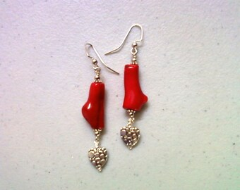 Red Coral Heart Earrings (1880)