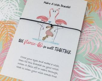 Make a Wish Bracelet, Charm Bracelet, We Flamin GO So Well Together, Flamingo, Flamingo Charm, Flamingo Jewelry, Enamel Famingo Charm