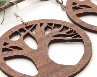 Tree of Life Earrings - Laser Cut Wooden Hoops - Sustainable Harvest Wisconsin Black Walnut Wood . Timber Green Woods