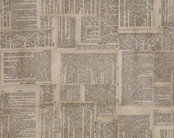 """Eclectic ElementsTim Holtz 45"""" Wide 100% Cotton Dictionary Print-Neutral Vintage PWTH008 33 X 44"""" Large Remnant"""